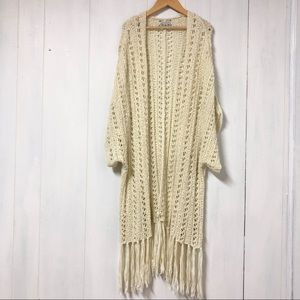 AEO Boho Cream Crochet Short Sleeve Duster Sweater